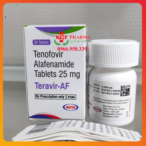 Thuốc Teravir-AF hoạt chất Tenofovir Alafenamide (TAF) 25mg thuốc điều trị viêm gan B mãn tính thế hệ mới xuất xứ Natco Ấn Độ, mua ở đâu, giá bao nhiêu
